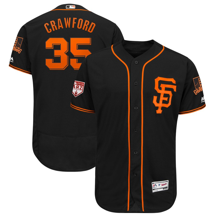 Giants #35 Brandon Crawford Black 2019 Spring Training Flex Base Stitched MLB Jersey