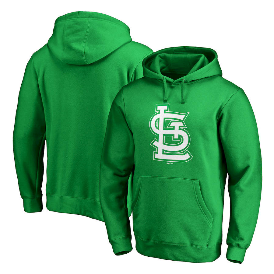 St. Louis Cardinals Majestic St. Patrick's Day White Logo Pullover Hoodie Kelly Green