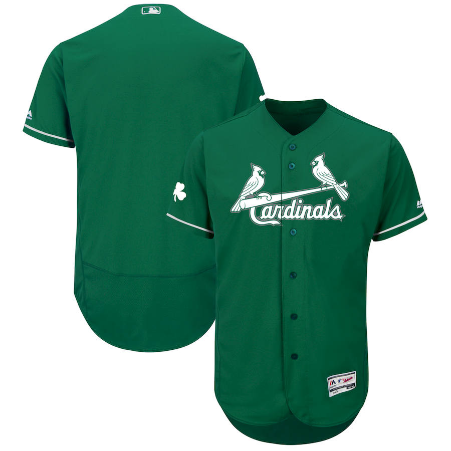 St. Louis Cardinals Majestic 2018 St. Patrick's Day Flex Base Authentic Collection Celtic Team Jersey Green