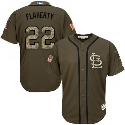 Cardinals #22 Jack Flaherty Green Salute to Service Stitched MLB Jersey