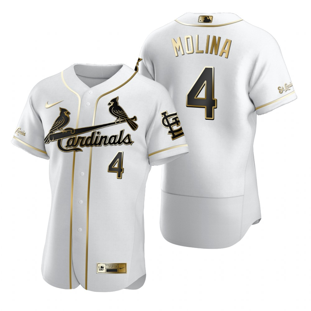 St. Louis Cardinals #4 Yadier Molina White Nike Men's Authentic Golden Edition MLB Jersey