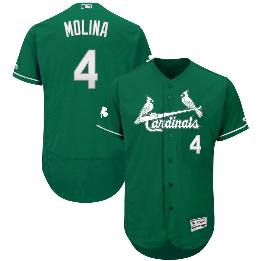 St. Louis Cardinals #4 Yadier Molina Majestic St. Patrick's Day Flex Base Authentic Collection Celtic Player Jersey Green