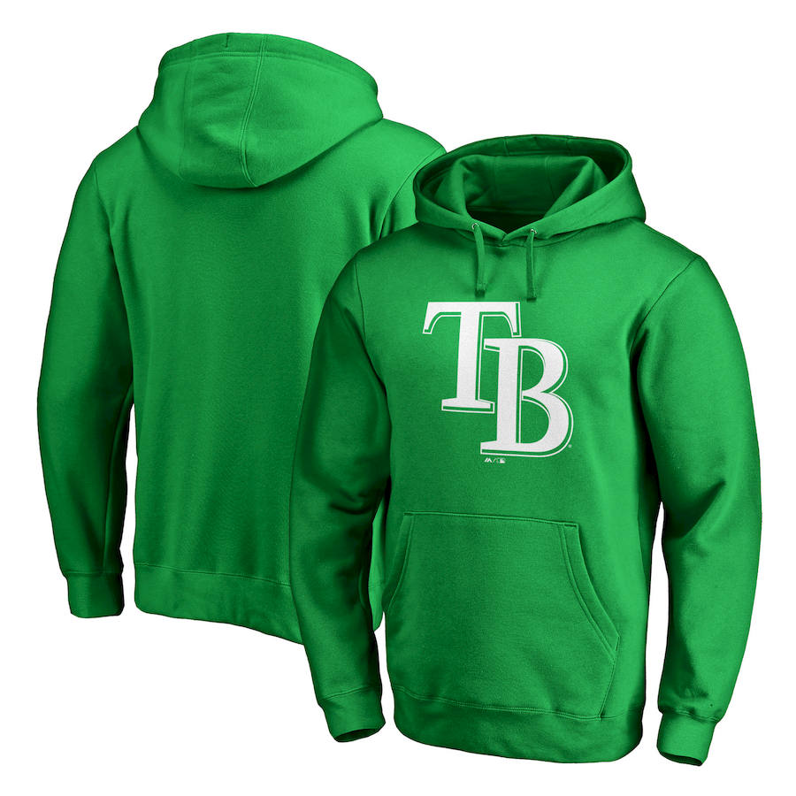 Tampa Bay Rays Majestic St. Patrick's Day White Logo Pullover Hoodie Kelly Green
