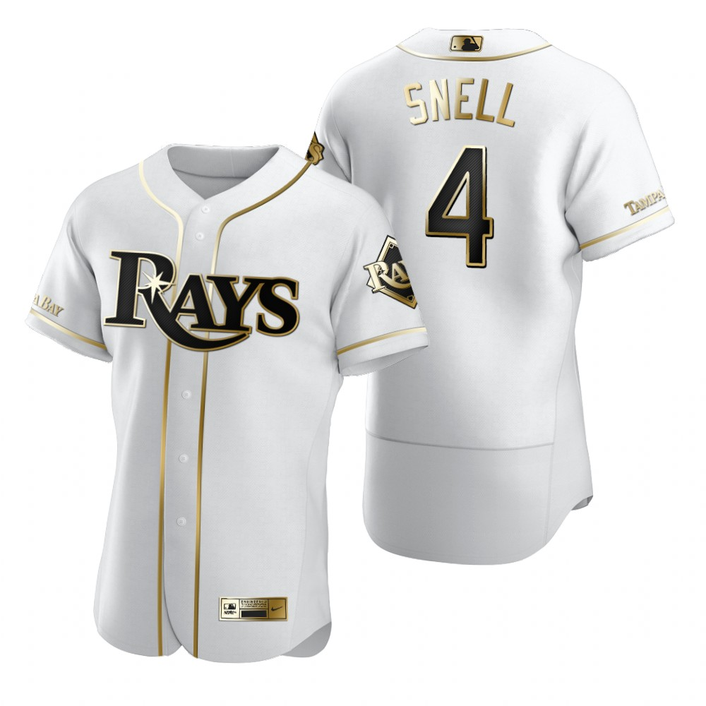 Tampa Bay Rays #4 Blake Snell White Nike Men's Authentic Golden Edition MLB Jersey