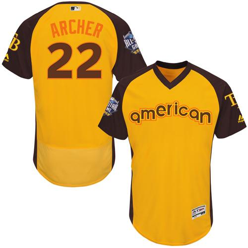Rays #22 Chris Archer Gold Flexbase Authentic Collection 2016 All-Star American League Stitched MLB Jersey