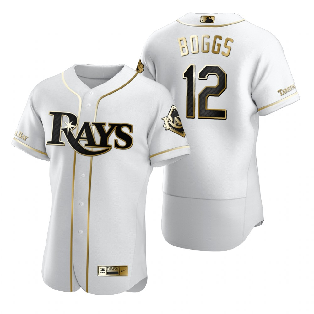 Tampa Bay Rays #12 Wade Boggs White Nike Men's Authentic Golden Edition MLB Jersey