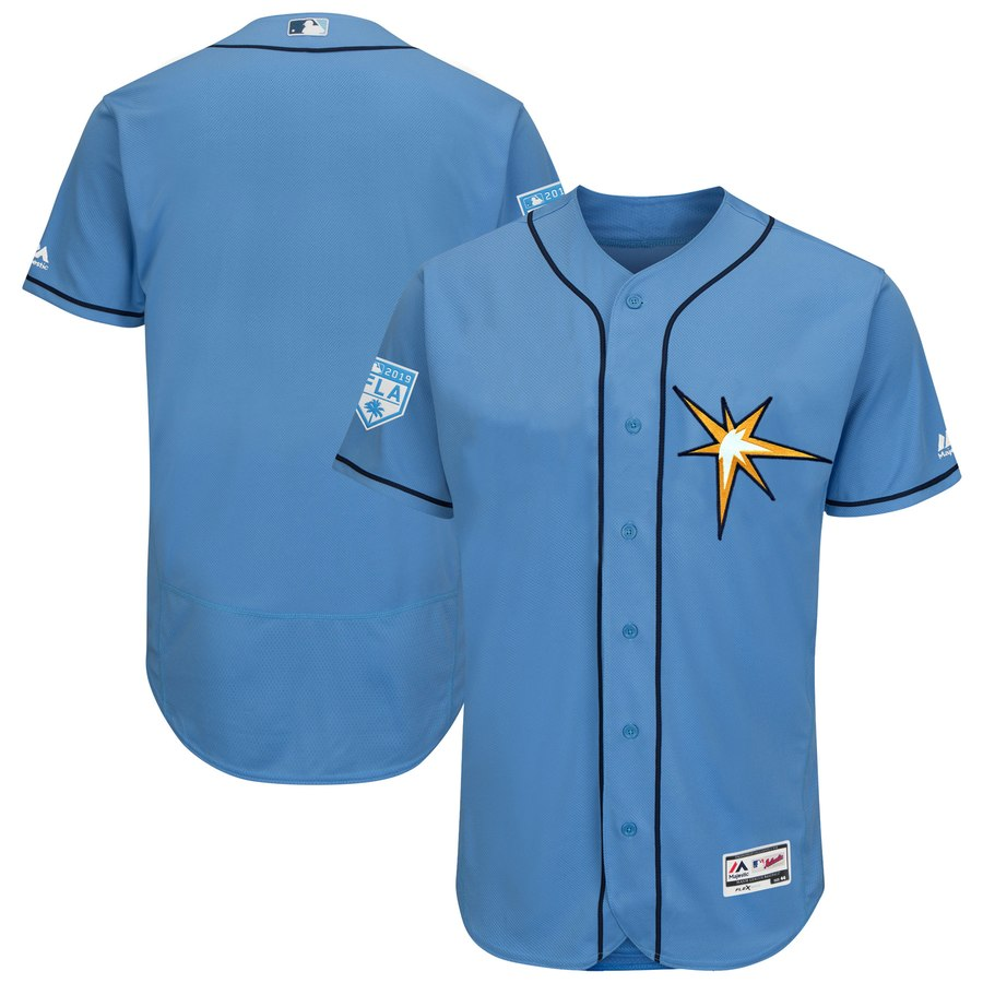Rays Blank Light Blue 2019 Spring Training Flex Base Stitched MLB Jersey