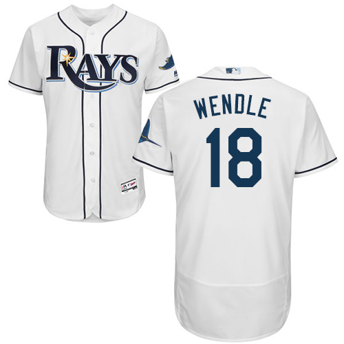 Rays #18 Joey Wendle White Flexbase Authentic Collection Stitched MLB Jersey