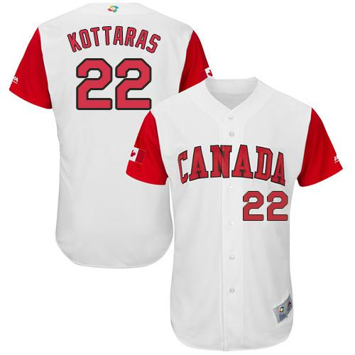 Team Canada #22 George Kottaras White 2017 World MLB Classic Authentic Stitched MLB Jersey