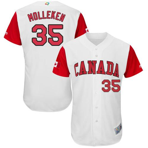Team Canada #35 Dustin Molleken White 2017 World MLB Classic Authentic Stitched MLB Jersey