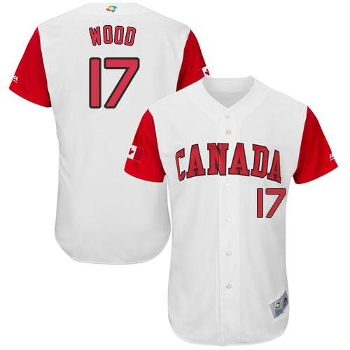 Team Canada #17 Eric Wood White 2017 World MLB Classic Authentic Stitched MLB Jersey