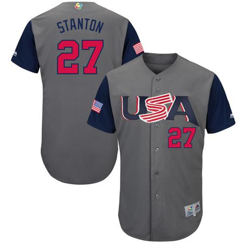 Team USA #27 Giancarlo Stanton Gray 2017 World MLB Classic Authentic Stitched MLB Jersey