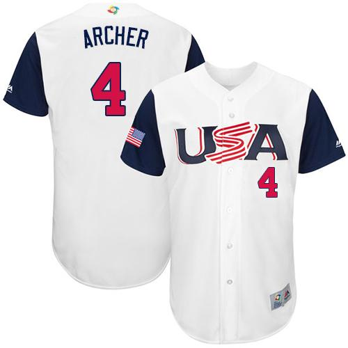 Team USA #4 Chris Archer White 2017 World MLB Classic Authentic Stitched MLB Jersey