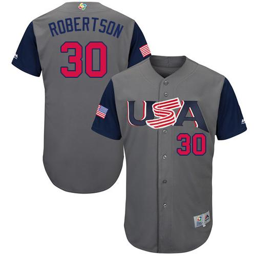 Team USA #30 David Robertson Gray 2017 World MLB Classic Authentic Stitched MLB Jersey