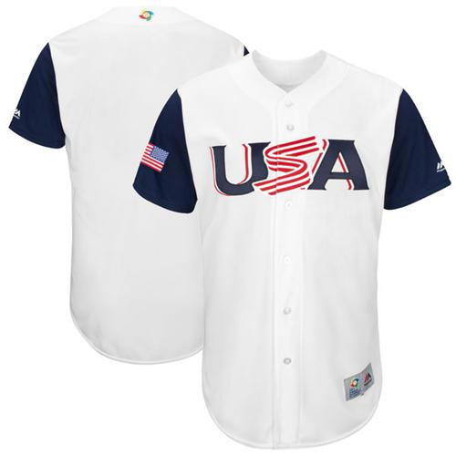 Team USA Blank White 2017 World MLB Classic Authentic Stitched MLB Jersey