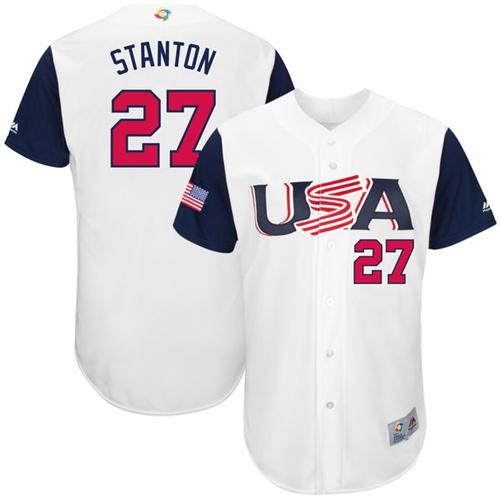 Team USA #27 Giancarlo Stanton White 2017 World MLB Classic Authentic Stitched MLB Jersey