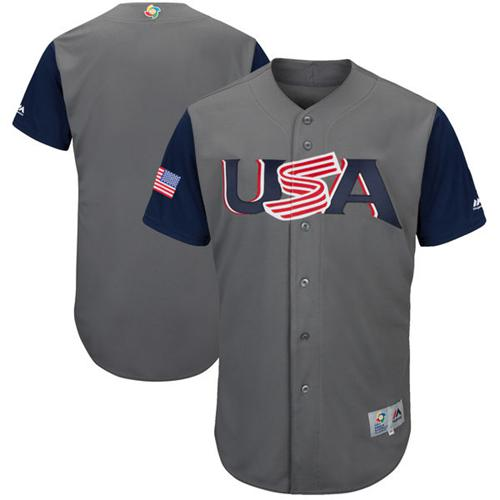 Team USA Blank Gray 2017 World MLB Classic Authentic Stitched MLB Jersey