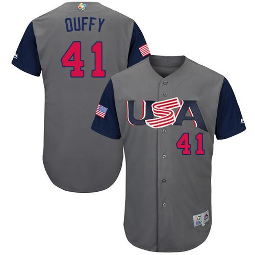 Team USA #41 Danny Duffy Gray 2017 World MLB Classic Authentic Stitched MLB Jersey