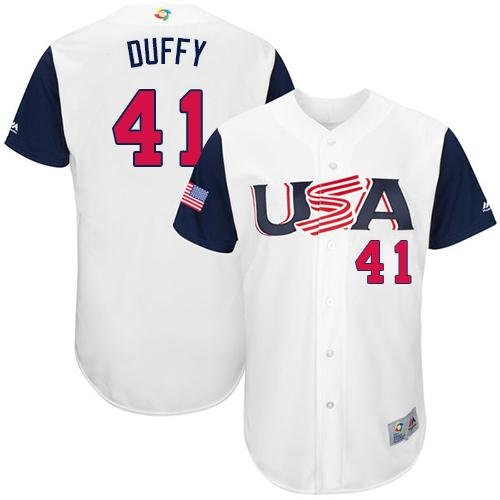 Team USA #41 Danny Duffy White 2017 World MLB Classic Authentic Stitched MLB Jersey