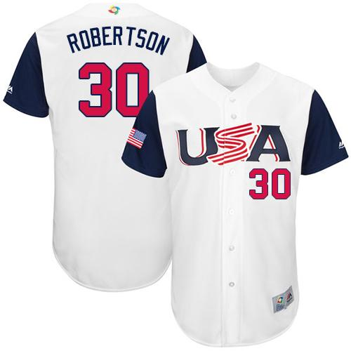 Team USA #30 David Robertson White 2017 World MLB Classic Authentic Stitched MLB Jersey