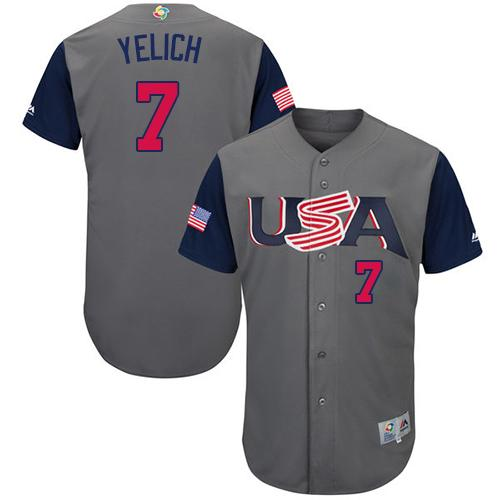Team USA #7 Christian Yelich Gray 2017 World MLB Classic Authentic Stitched MLB Jersey