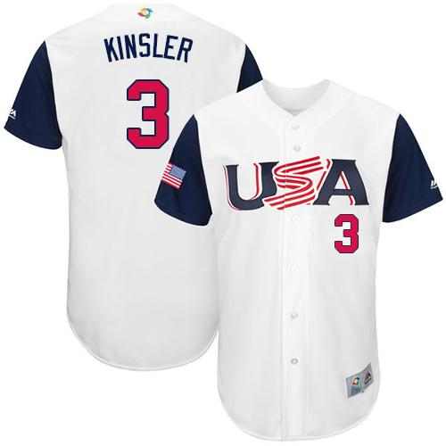 Team USA #3 Ian Kinsler White 2017 World MLB Classic Authentic Stitched MLB Jersey