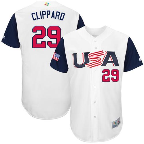 Team USA #29 Tyler Clippard White 2017 World MLB Classic Authentic Stitched MLB Jersey
