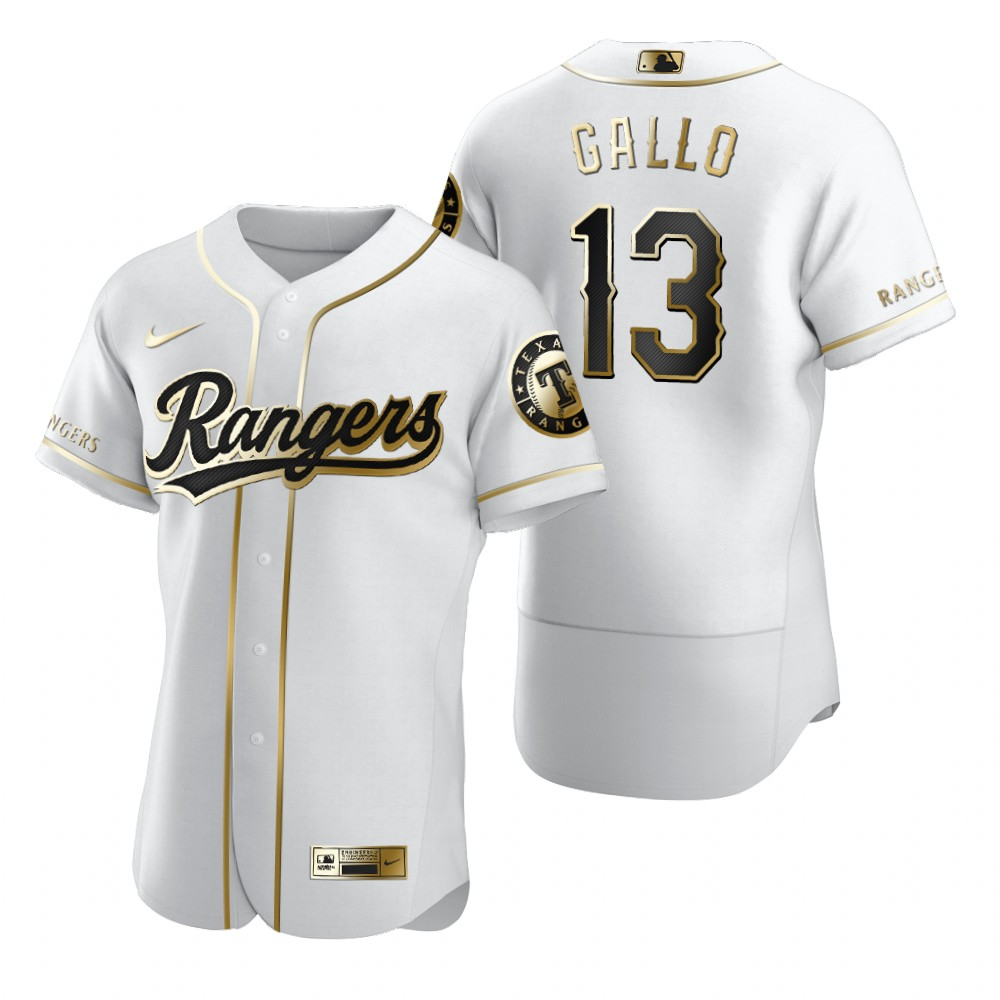 Texas Rangers #13 Joey Gallo White Nike Men's Authentic Golden Edition MLB Jersey