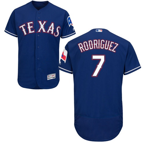 Rangers #7 Ivan Rodriguez Blue Flexbase Authentic Collection Stitched MLB Jersey