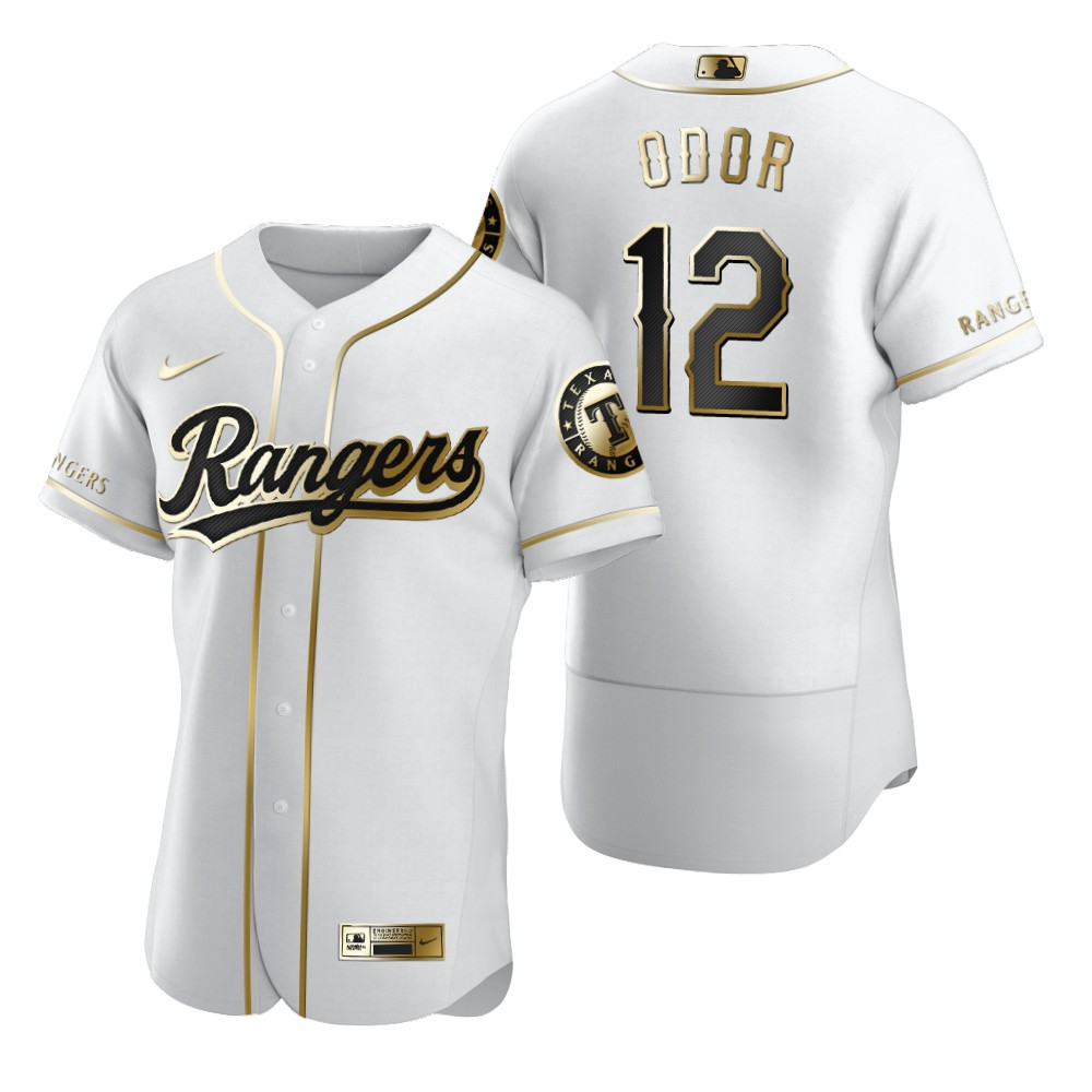 Texas Rangers #12 Rougned Odor White Nike Men's Authentic Golden Edition MLB Jersey