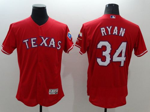 Rangers #34 Nolan Ryan Red Flexbase Authentic Collection Stitched MLB Jersey