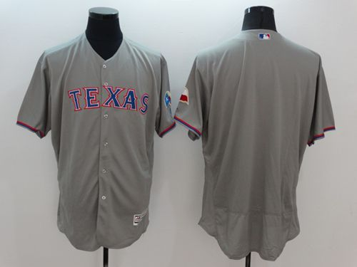 Rangers Blank Grey Flexbase Authentic Collection Stitched MLB Jersey