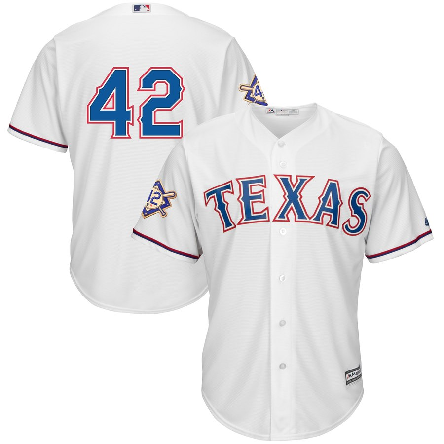 Texas Rangers #42 Majestic 2019 Jackie Robinson Day Official Cool Base Jersey White