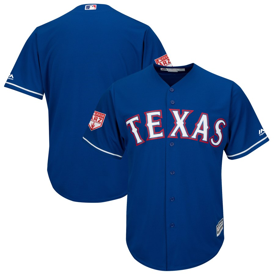 Rangers Blank Blue 2019 Spring Training Cool Base Stitched MLB Jersey