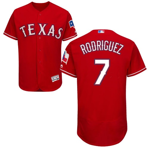 Rangers #7 Ivan Rodriguez Red Flexbase Authentic Collection Stitched MLB Jersey