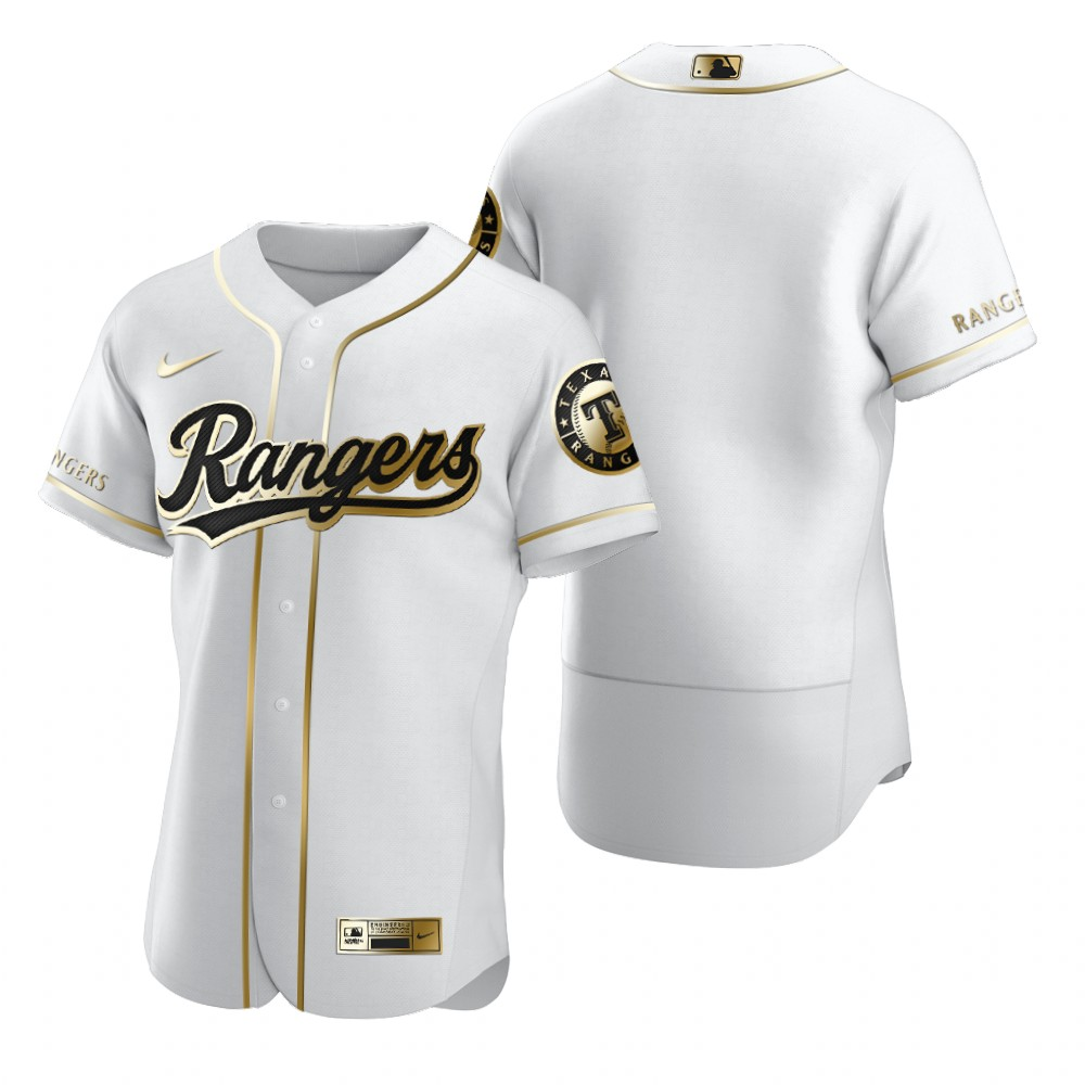 Texas Rangers Blank White Nike Men's Authentic Golden Edition MLB Jersey