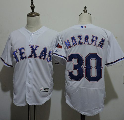 Rangers #30 Nomar Mazara White Flexbase Authentic Collection Stitched MLB Jersey