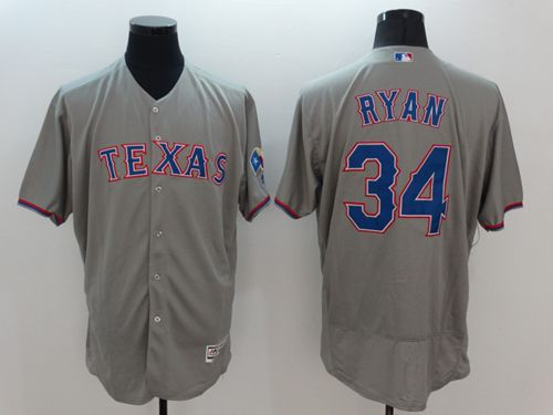 Rangers #34 Nolan Ryan Grey Flexbase Authentic Collection Stitched MLB Jersey