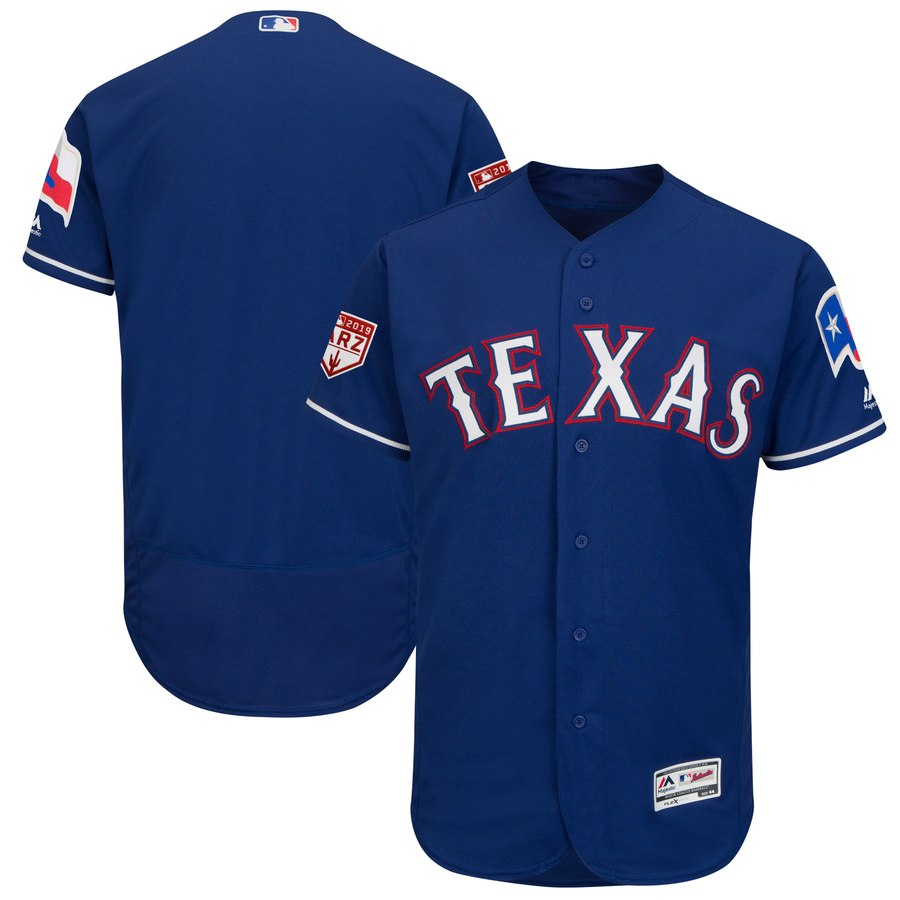 Rangers Blank Blue 2019 Spring Training Flex Base Stitched MLB Jersey