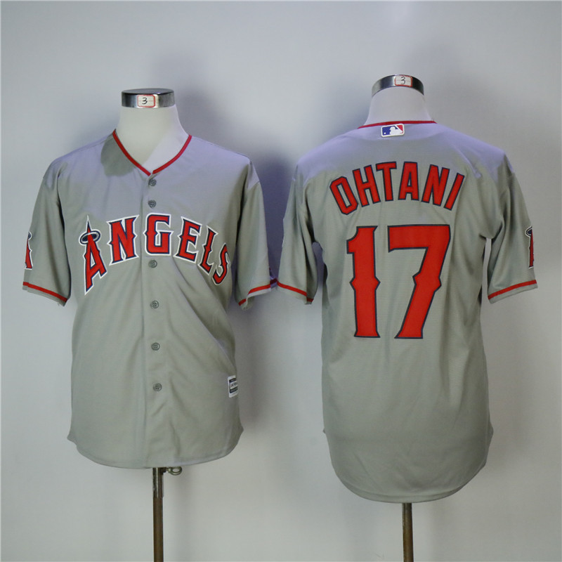 Men's Los Angeles Angels #17 Shohei Ohtani Gray Cool Base Stitched MLB Jersey