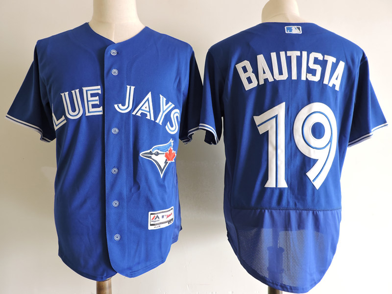 Men's Toronto Blue Jays #19 Jose Bautista Blue Elite Stitched MLB Jersey
