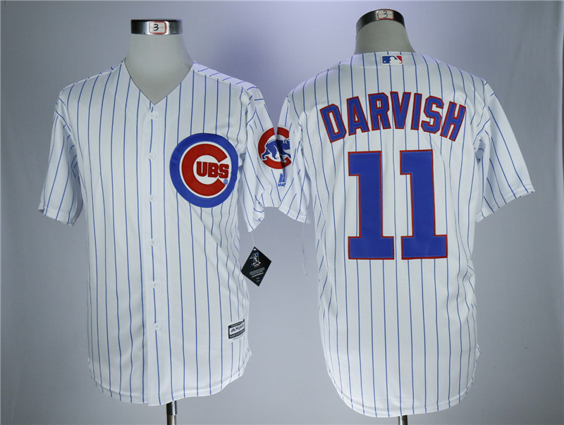 Men's Chicago Cubs #11 Yu Darvish White Cool Base Stitched MLB Jersey