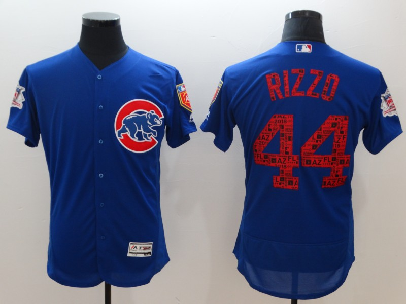 Men's Chicago Cubs #44 Anthony Rizzo Royal 2018 Spring Training Flexbase Stitched MLB Jersey