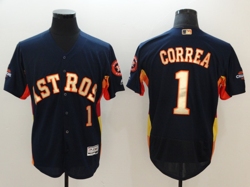 Men's Houston Astros #1 Carlos Correa Navy 2018 Gold Program Flexbase Stitched MLB Jersey