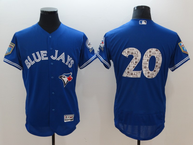 Men's Toronto Blue Jays #20 Josh Donaldson Royal 2018 Spring Training Flexbase Stitched MLB Jersey