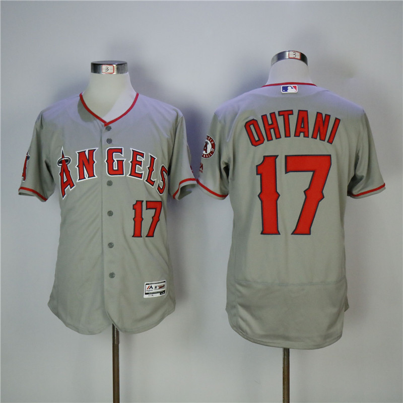Men's Los Angeles Angels #17 Shohei Ohtani Gray Flexbase Stitched MLB Jersey