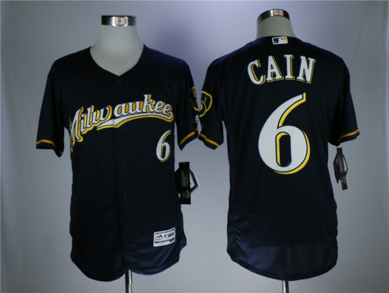 Men's Milwaukee Brewers #6 Lorenzo Cain navy Flexbase Stitched MLB Jersey