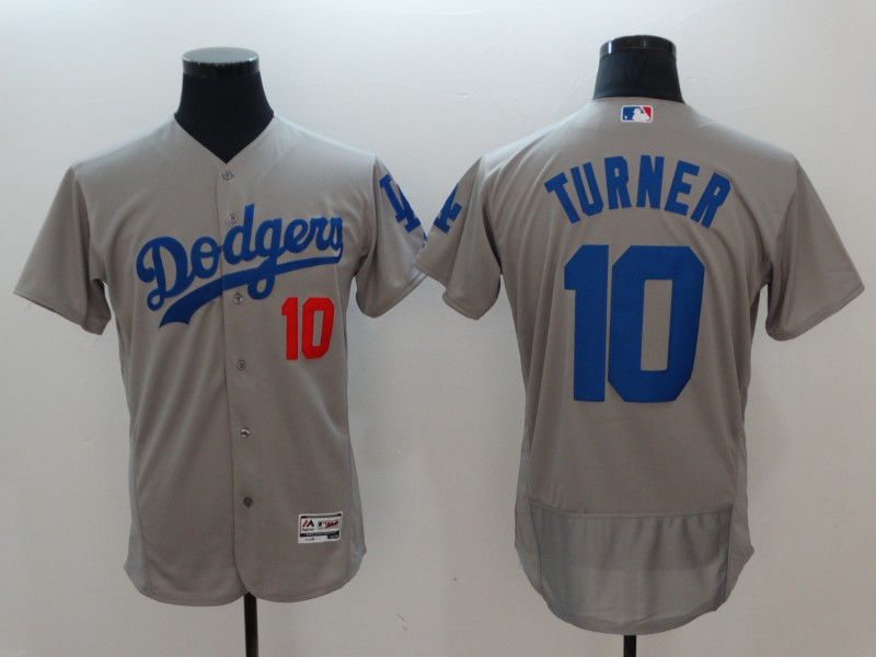 Men's Los Angeles Dodgers #10 Justin Turner Gray Flexbase Stitched MLB Jersey