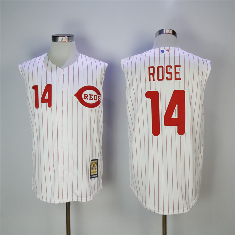 Men's Cincinnati Reds #14 Pete Rose White Cooperstown Collection Player Stitched MLB Jersey