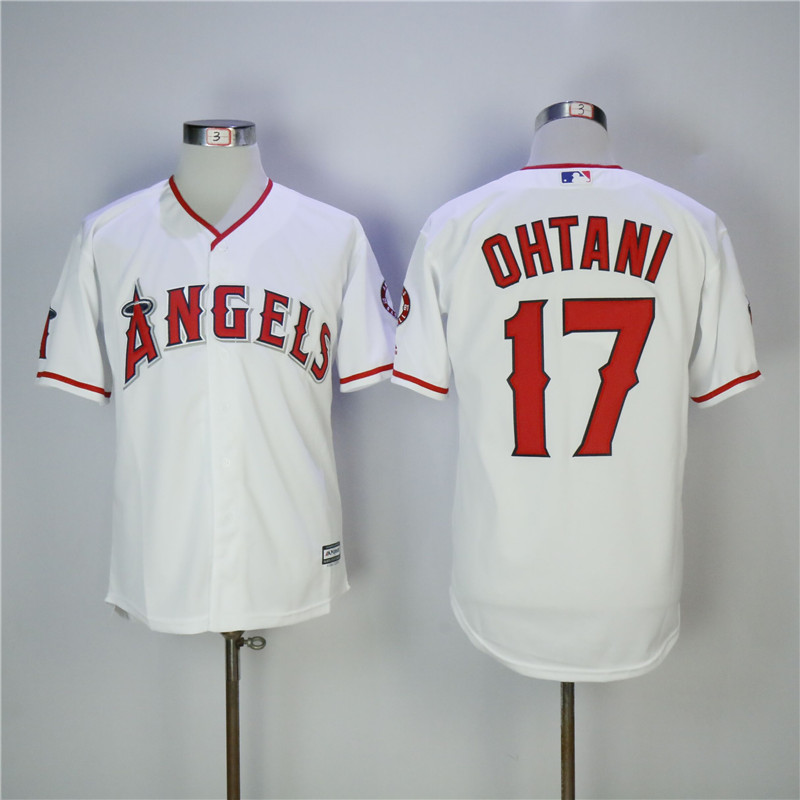 Men's Los Angeles Angels #17 Shohei Ohtani White Cool Base Stitched MLB Jersey